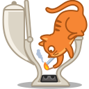 128x128px size png icon of cat smoke