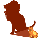 128x128px size png icon of cat shadow lion