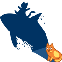128x128px size png icon of cat shadow whale