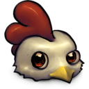 128x128px size png icon of Cute Little Low Res Chicken