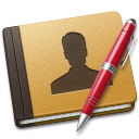 128x128px size png icon of Address Book red