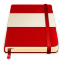 128x128px size png icon of moleskine red white 512