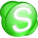 128x128px size png icon of Skype green