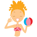 128x128px size png icon of beach girl ball