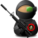 128x128px size png icon of Sniper Soldier with Weapon