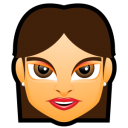 128x128px size png icon of Female Face FG 2 brunette