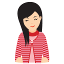 128x128px size png icon of girl chuckle
