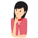 128x128px size png icon of girl confused