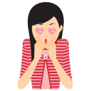 128x128px size png icon of girl in love