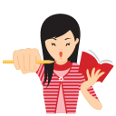 128x128px size png icon of girl motivated