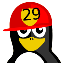128x128px size png icon of Fireman Tux