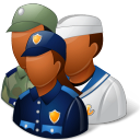 128x128px size png icon of Groups Military Personnel Dark