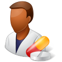 128x128px size png icon of Medical Pharmacist Male Dark