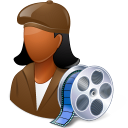 128x128px size png icon of Occupations Film Maker Female Dark