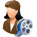 128x128px size png icon of Occupations Film Maker Female Light