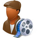 128x128px size png icon of Occupations Film Maker Male Dark