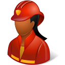 128x128px size png icon of Occupations Firefighter Female Dark