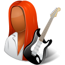 128x128px size png icon of Occupations Guitarist Female Dark