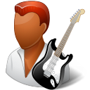 128x128px size png icon of Occupations Guitarist Male Dark