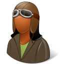 128x128px size png icon of Occupations Pilot OldFashioned Female Dark
