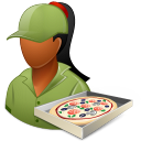 128x128px size png icon of Occupations Pizza Deliveryman Female Dark