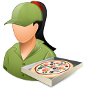 128x128px size png icon of Occupations Pizza Deliveryman Female Light