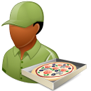 128x128px size png icon of Occupations Pizza Deliveryman Male Dark