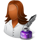 128x128px size png icon of Occupations Writer Female Dark
