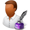 128x128px size png icon of Occupations Writer Male Dark