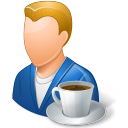 128x128px size png icon of Rest Person Coffee Break Male Light