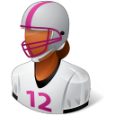 128x128px size png icon of Sport Football Player Female Dark