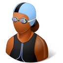 128x128px size png icon of Sport Swimmer Female Dark