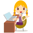 128x128px size png icon of callcenter girls blonde