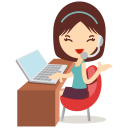128x128px size png icon of callcenter girls blue