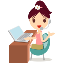 128x128px size png icon of callcenter girls flower