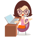 128x128px size png icon of callcenter girls glasses