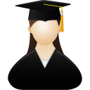128x128px size png icon of Graduate female