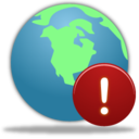 128x128px size png icon of Globe Warning