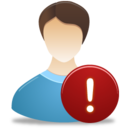 128x128px size png icon of Male User Warning