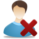 128x128px size png icon of Remove Male User