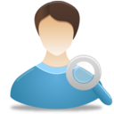 128x128px size png icon of Search Male User