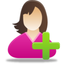 128x128px size png icon of Add female user