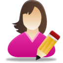 128x128px size png icon of Edit female user