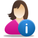 128x128px size png icon of Female user info