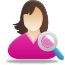 128x128px size png icon of Female user search