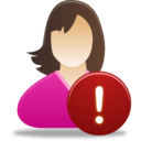 128x128px size png icon of Female user warning