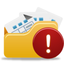 128x128px size png icon of Open Folder Warning