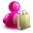 128x128px size png icon of shopping girl