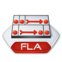 128x128px size png icon of Adobe flash fla