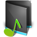 128x128px size png icon of Music Folder Alta Black
